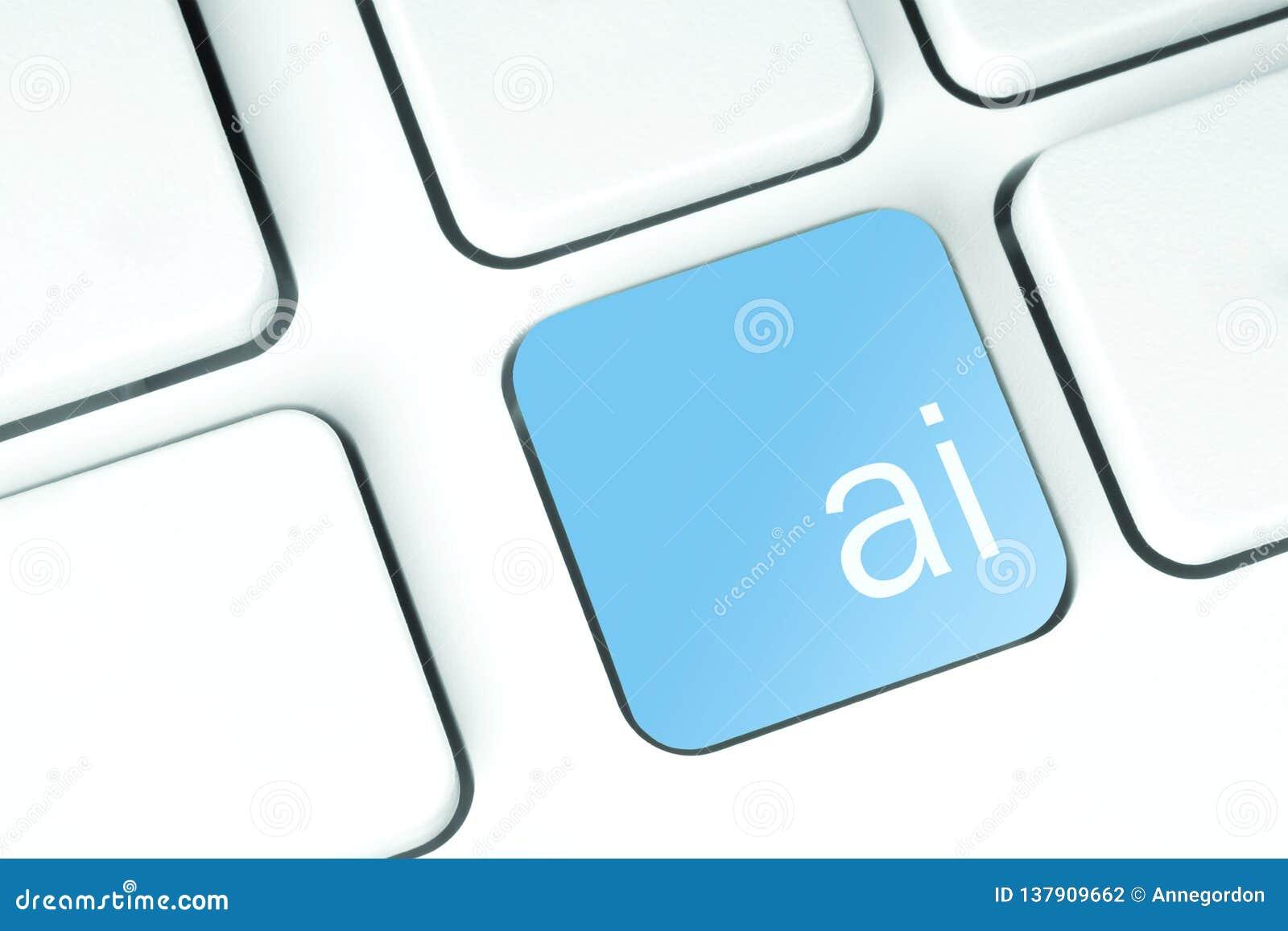 Artificial Intelligence Button on keyboard