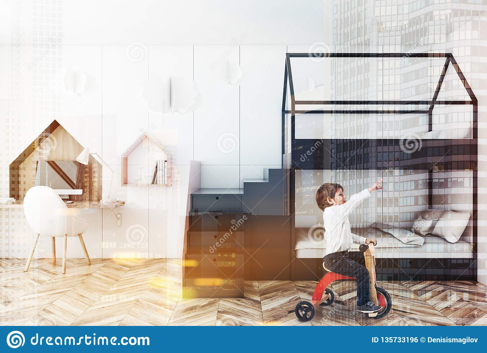 Picture of: White Kids Bedroom Interior Bunk Bed Boy Stock Photo Image Of Care Colorful 135733196