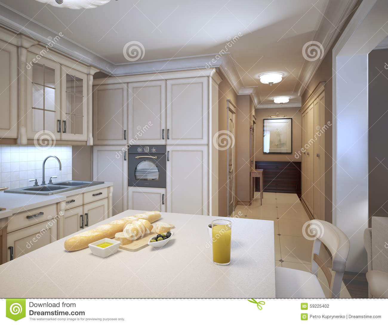 Traditional White Kitchen Design 3d Rendering: White Kitchen Art Deco Style Stock Illustration