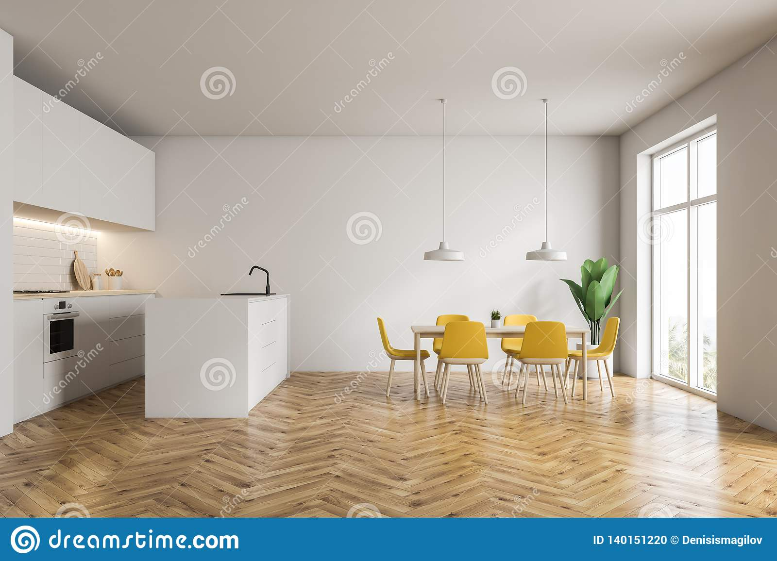 White Kitchen With Bar, Table And Countertops Stock Illustration ...