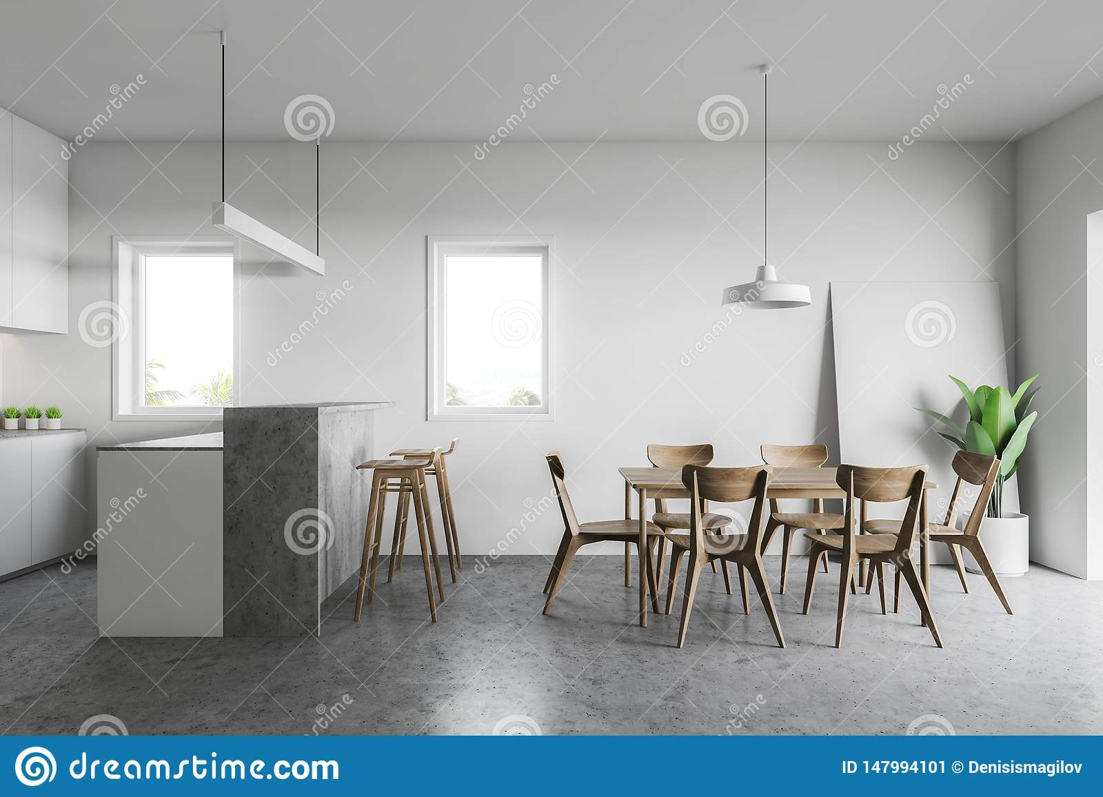 White Kitchen With Bar And Table Stock Illustration   Illustration ...