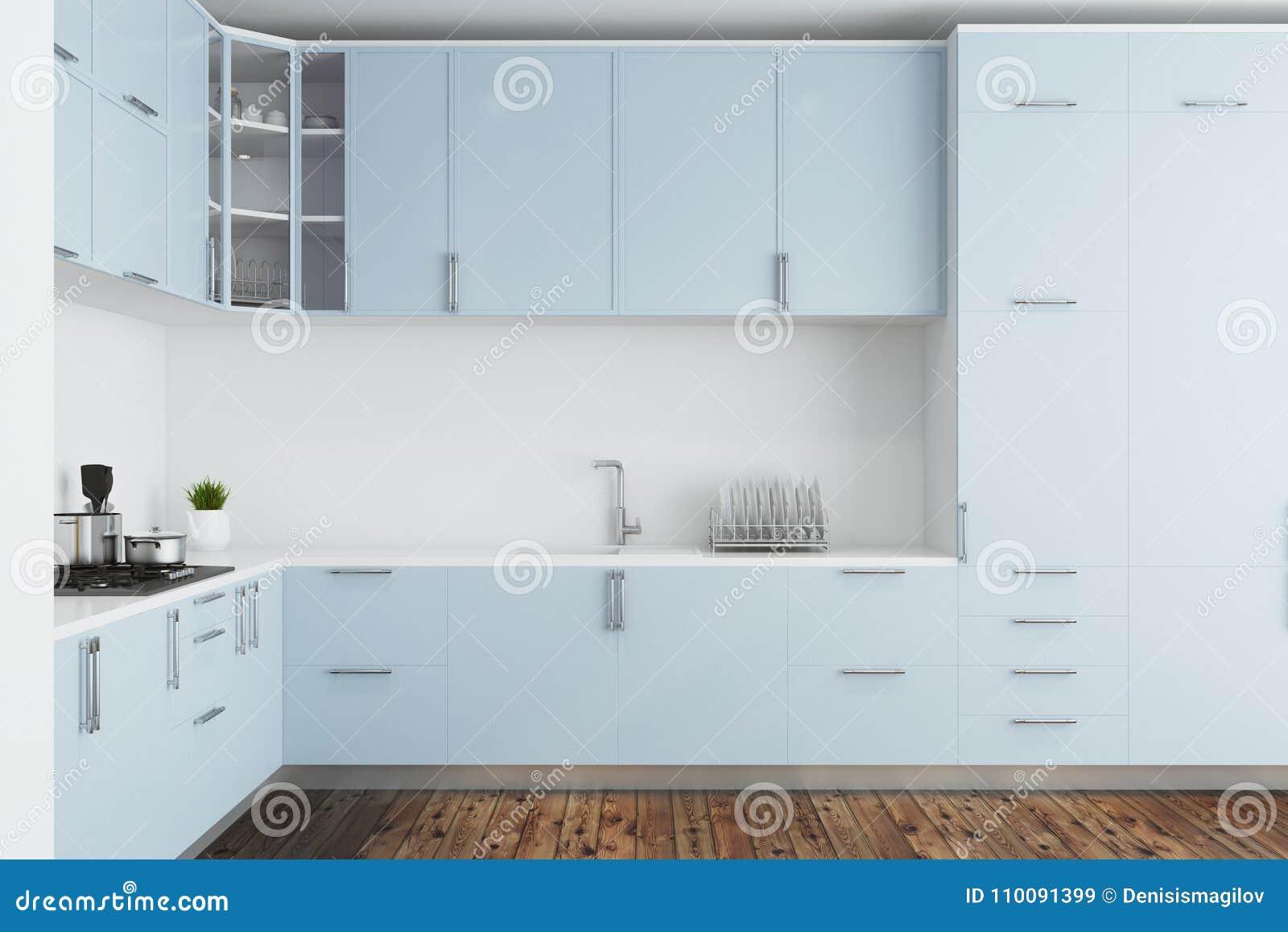 White Kitchen, Blue Countertops Stock Illustration - Illustration of ...