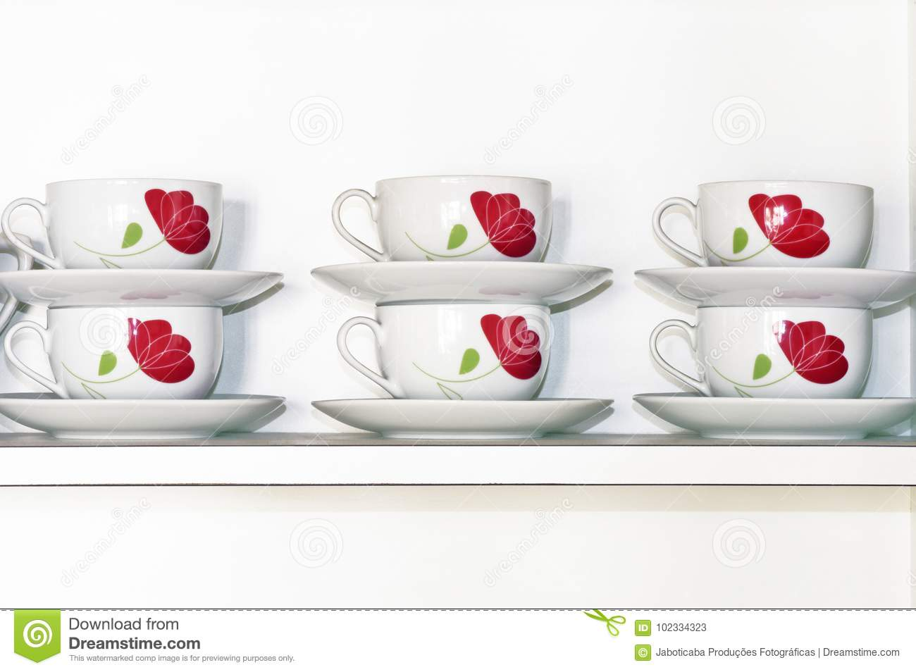 White Kitchen Cabinet Shelf With Decorated Tea Cups Stock Image Image Of Instrument Easy 102334323