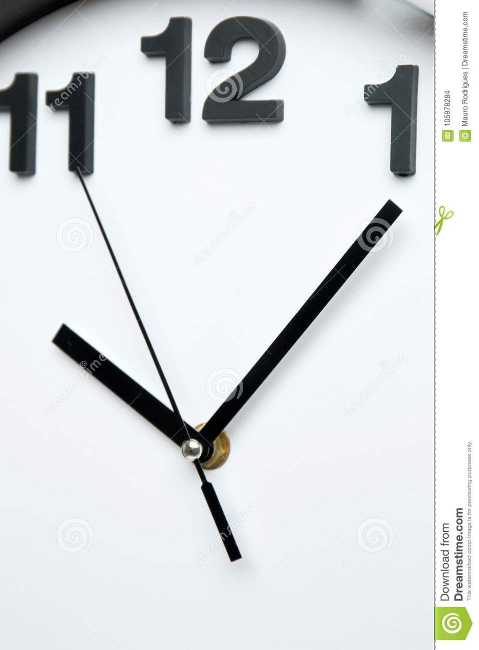 White Kitchen Clock With Black Numbers Stock Photo - Image ...