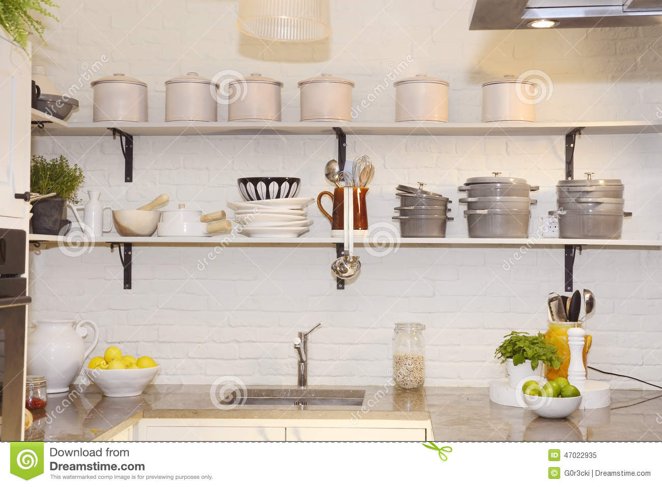 White Kitchen, Colorful Fruits On Granite Counter, Pots And ...