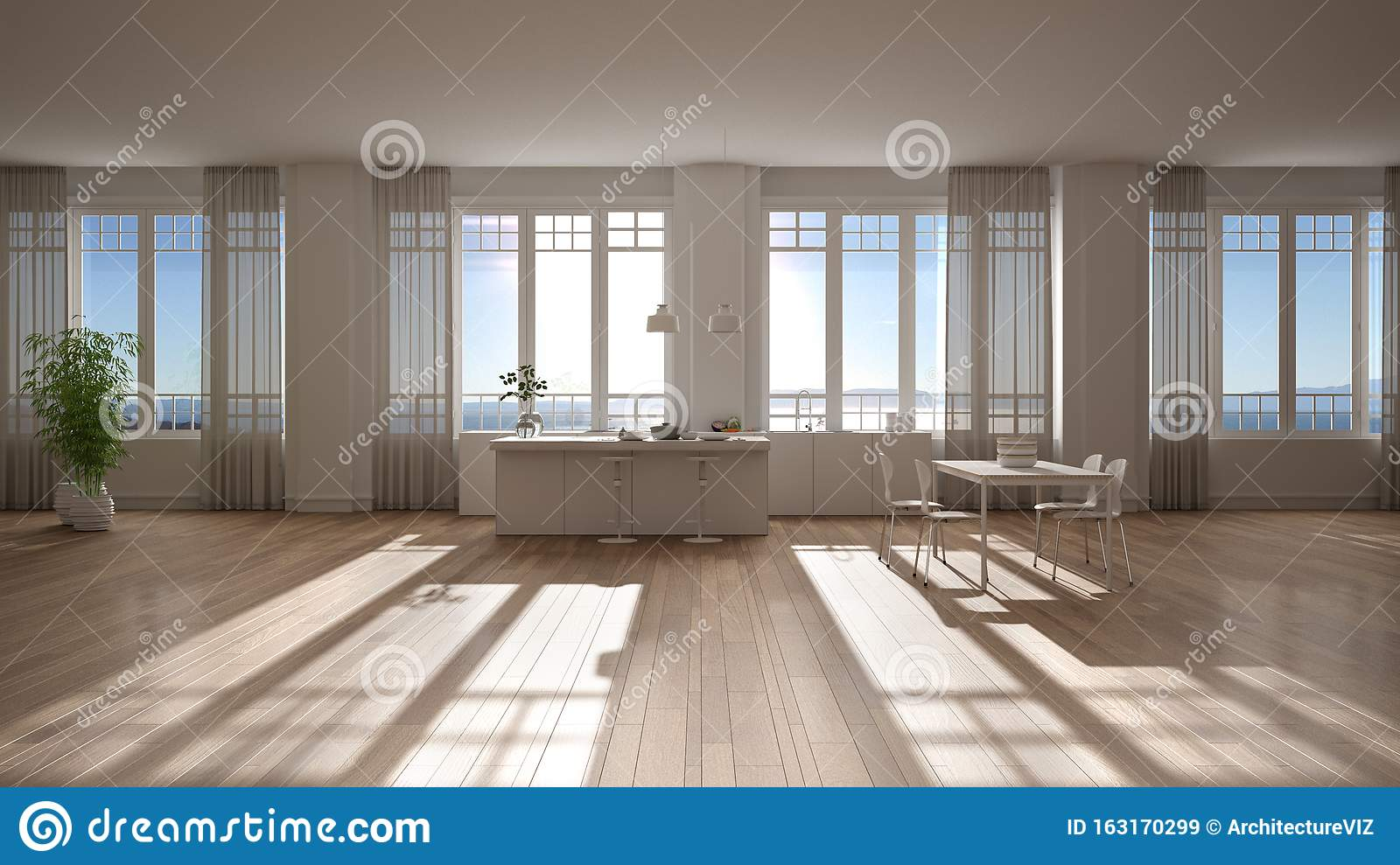 White Kitchen In Contemporary Style With Bar Top And Wooden Stools Suspended Lamps Dining Table With Chairs Panoramic Windows Stock Image Image Of Design Empty 163170299