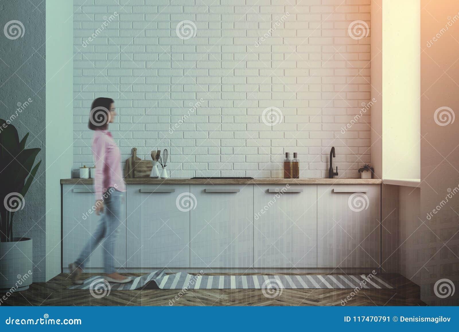 White Kitchen Counter, White Brick Wall Toned Stock Image - Image of ...