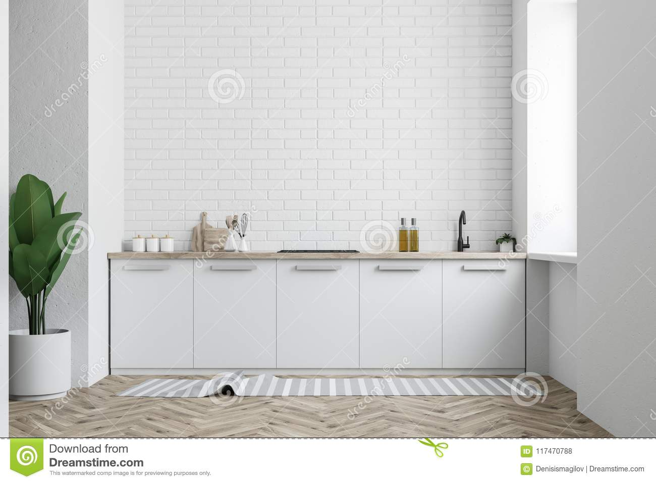 White Kitchen Counter White Brick Wall Stock Illustration