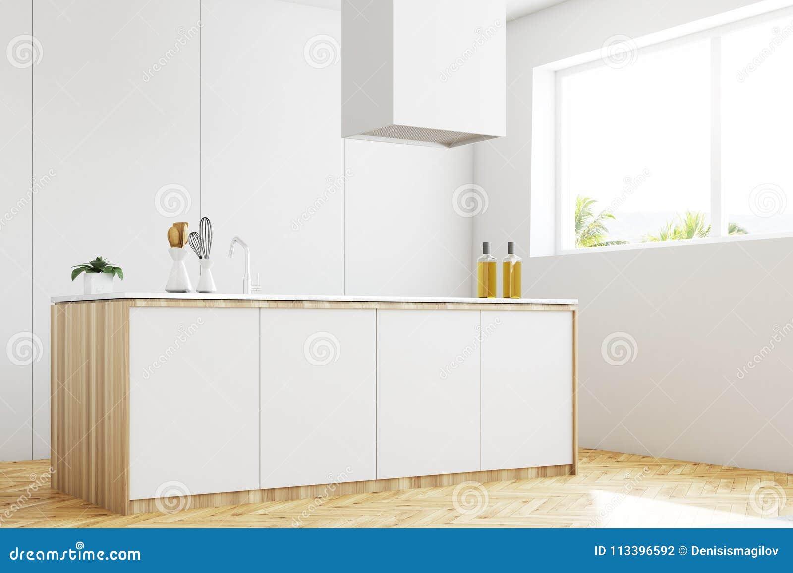 White Kitchen Countertop Side View Stock Illustration