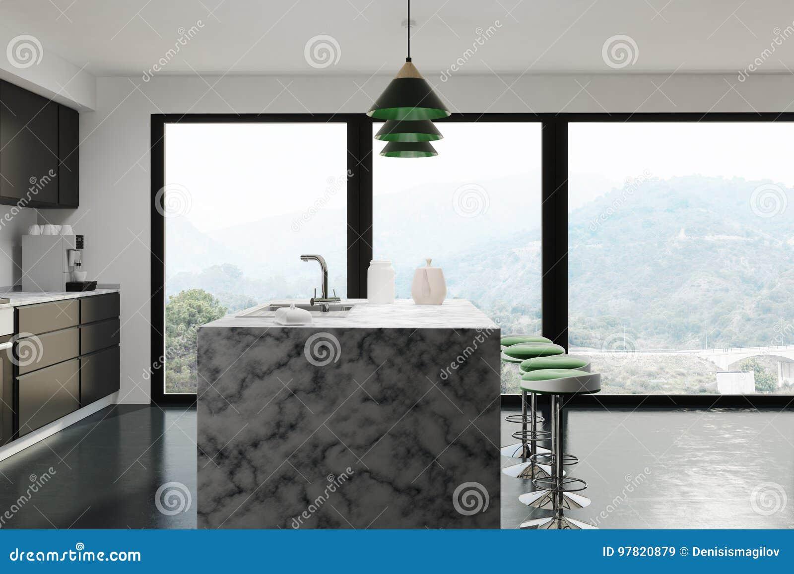 White Kitchen Dark Marble Bar Side Stock Illustration