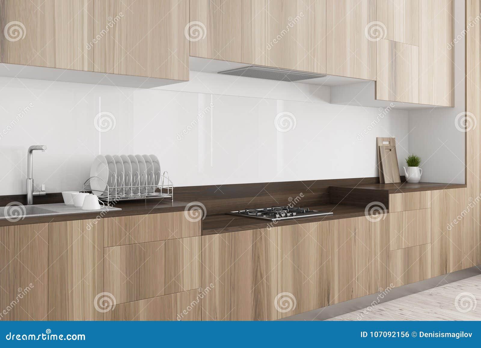 White Kitchen Dark Wooden Countertop Side Stock Illustration