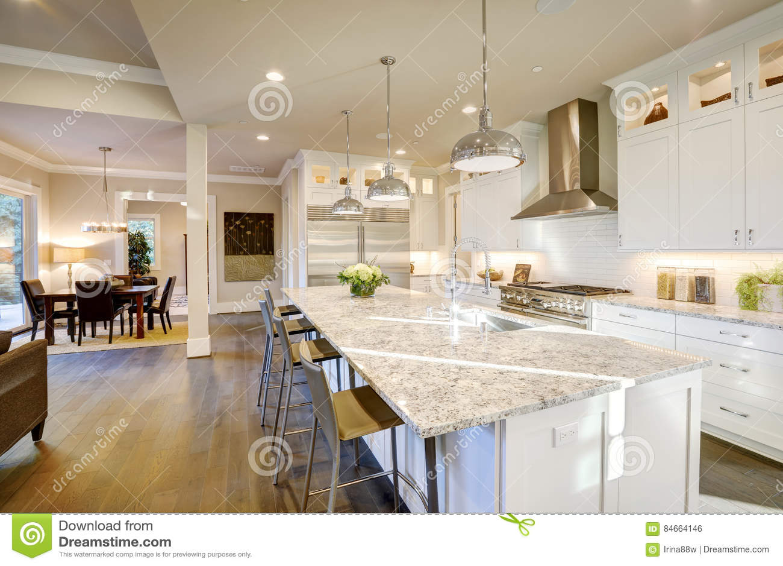 White Kitchen Design In New Luxurious Home Stock Photo Image Of Granite Shiny 84664146