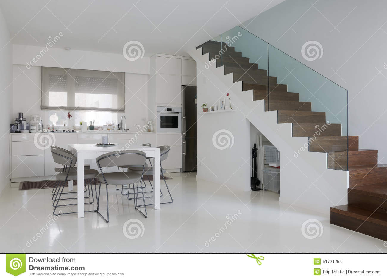 Stock Photo White Kitchen Dining Room Epoxy Floor Wooden Stairs Image51721254 on Minimalist House Floor Plans
