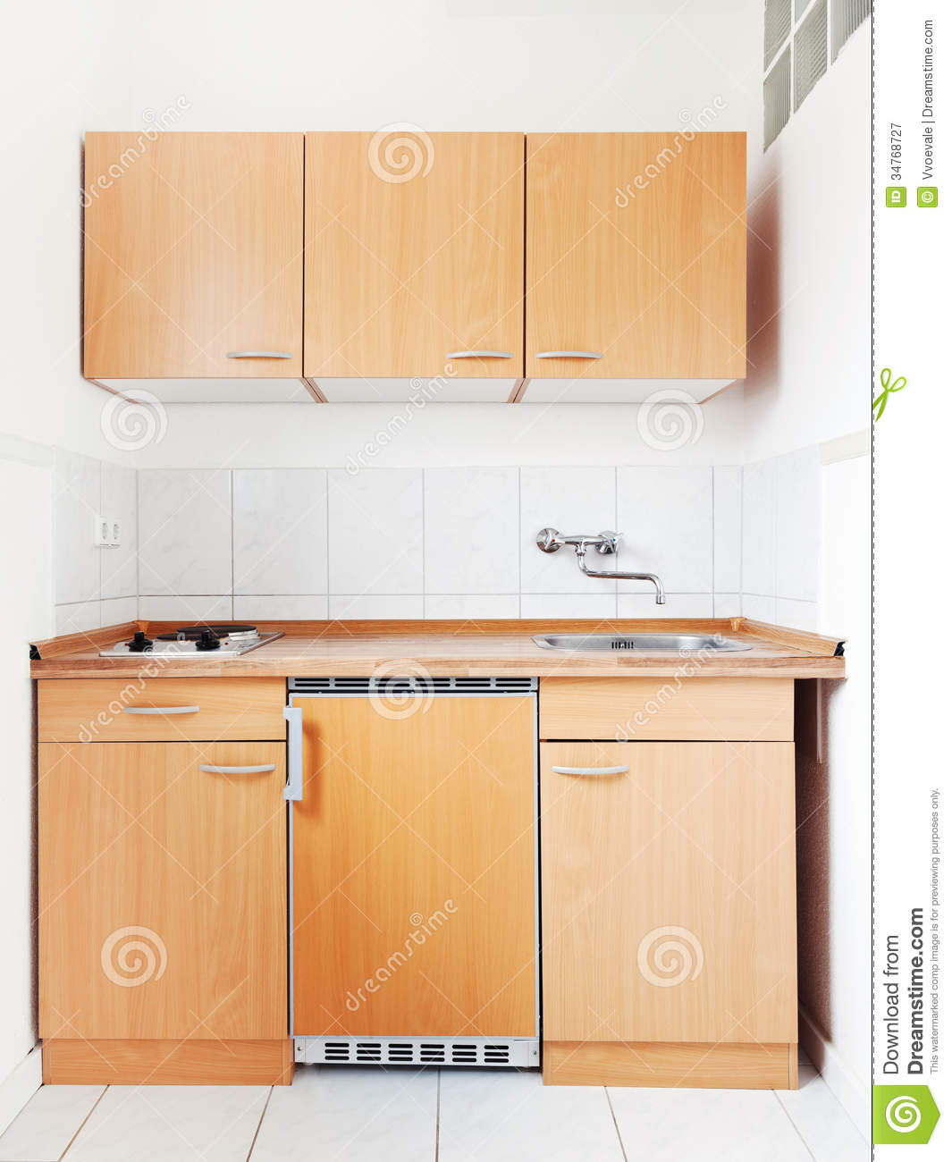 White Kitchen With Furniture Set Stock Image Image Of Fridge Poor