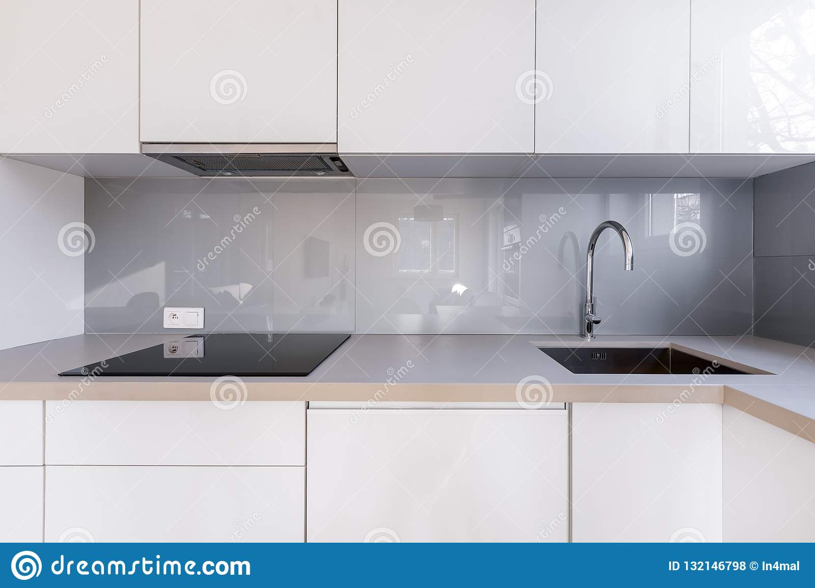 - White Kitchen With Gray Backsplash Stock Photo - Image Of Cabinet