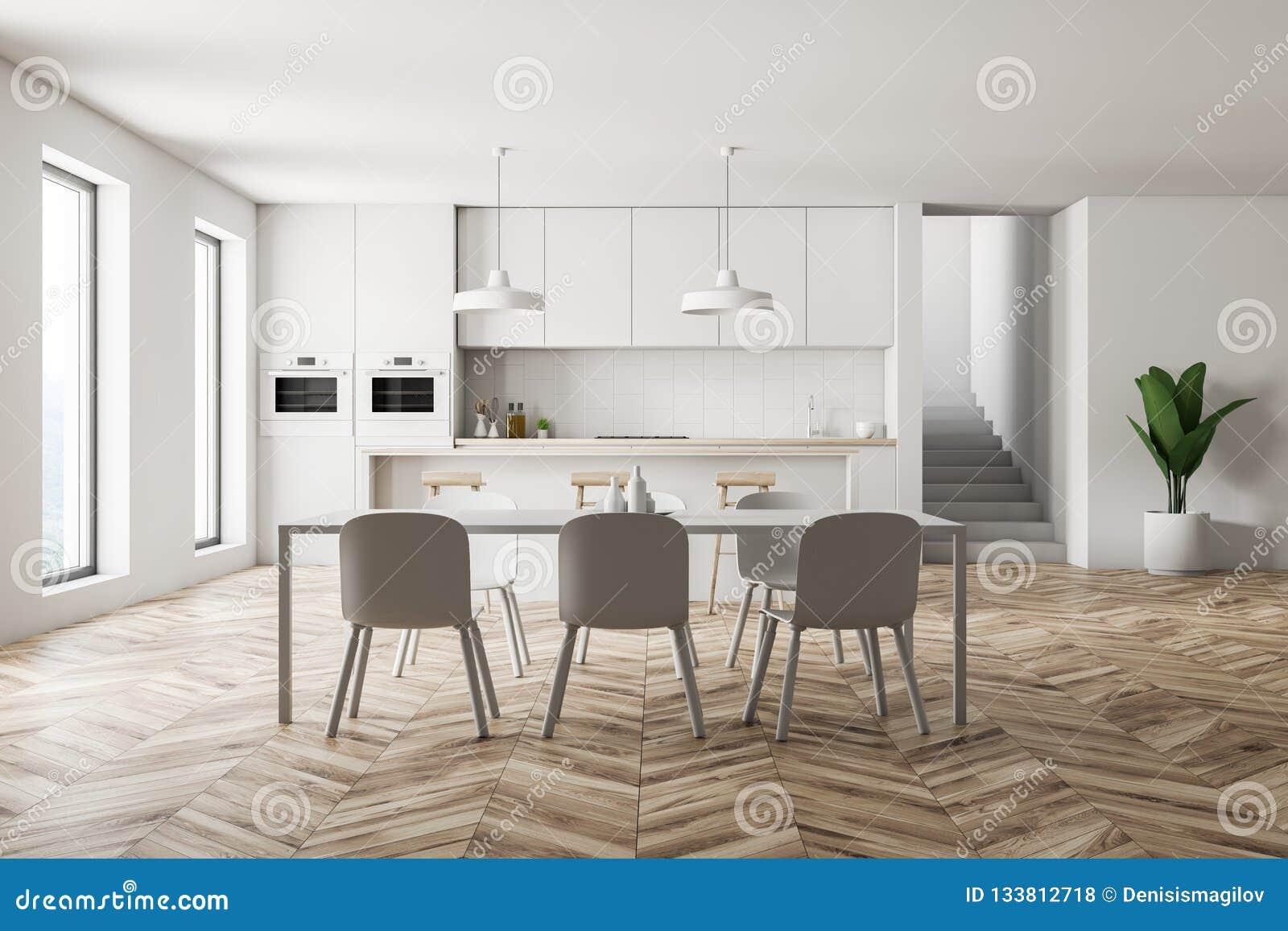 White Kitchen Interior, Bar And Table Stock Illustration ...