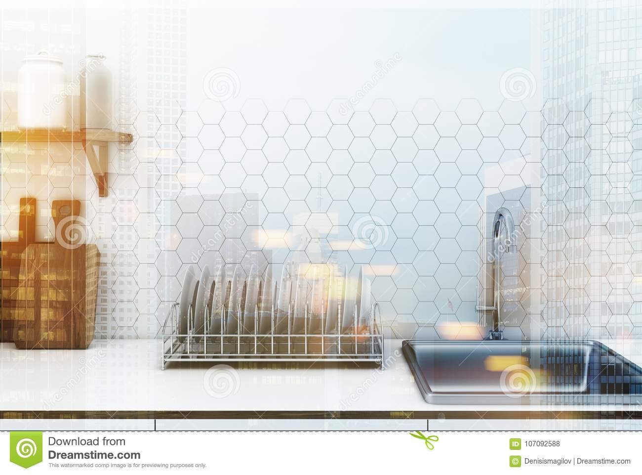 White Hexagon Tile Kitchen Countertop Toned Stock Illustration Illustration Of Clean Creative 107092588