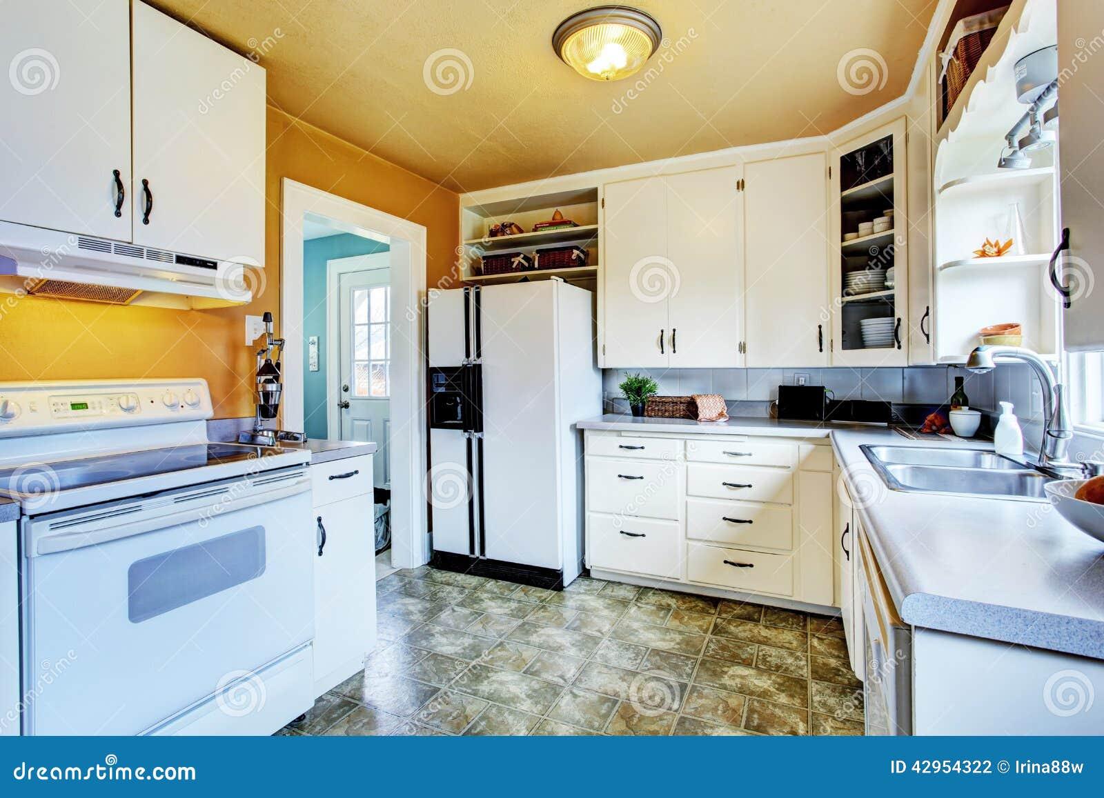Peach Kitchen White Kitchen Interior With Peach Walls And Khaki Linoleum Stock