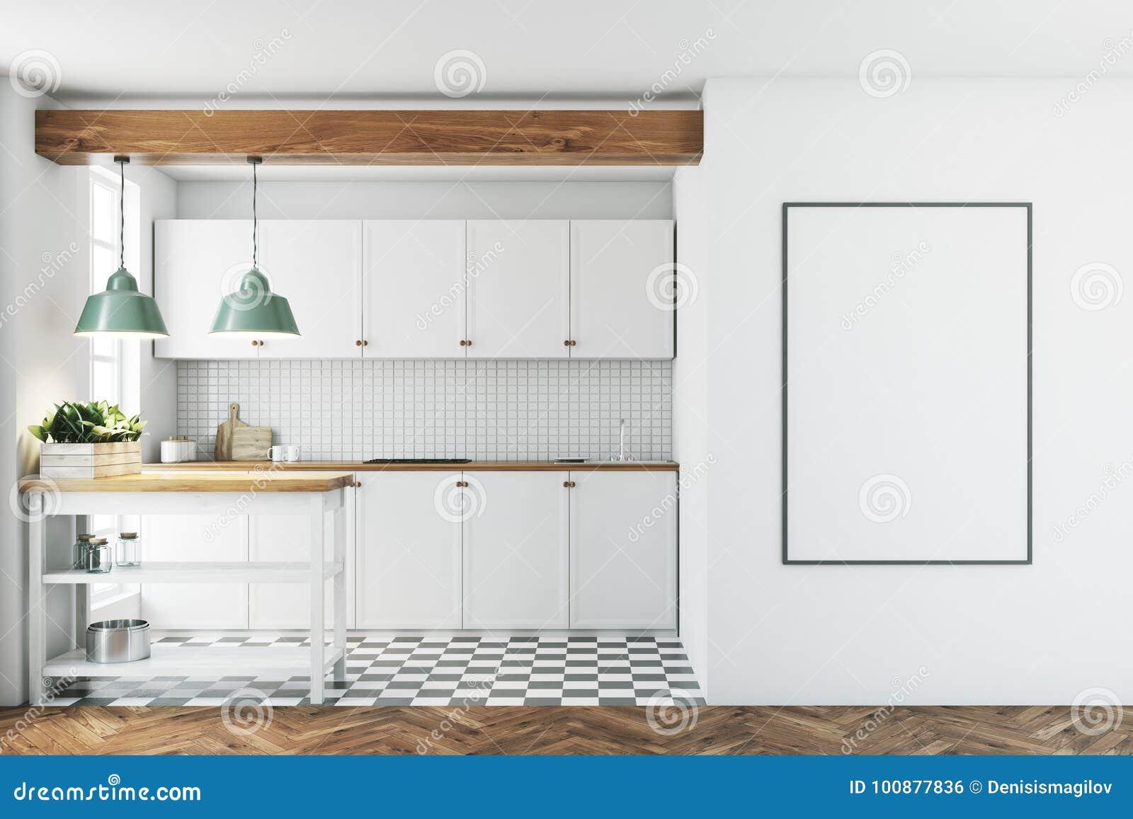 White Kitchen Interior, Tiled Floor, Poster Stock Illustration ...