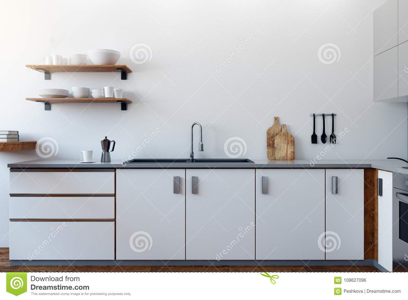 White kitchen interior stock illustration. Illustration of furniture ...