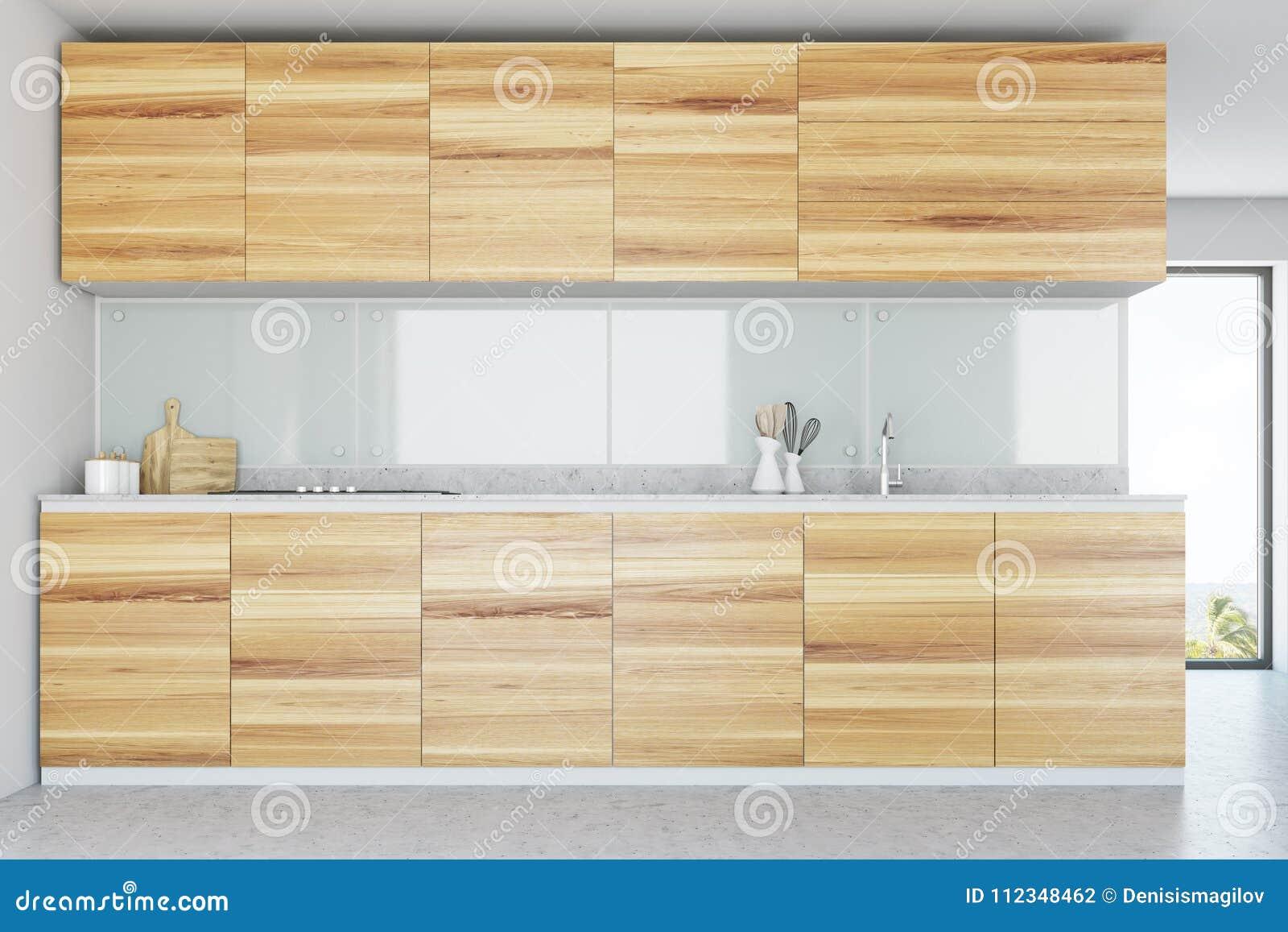 White Kitchen Interior, Wooden Counters Stock Illustration ...