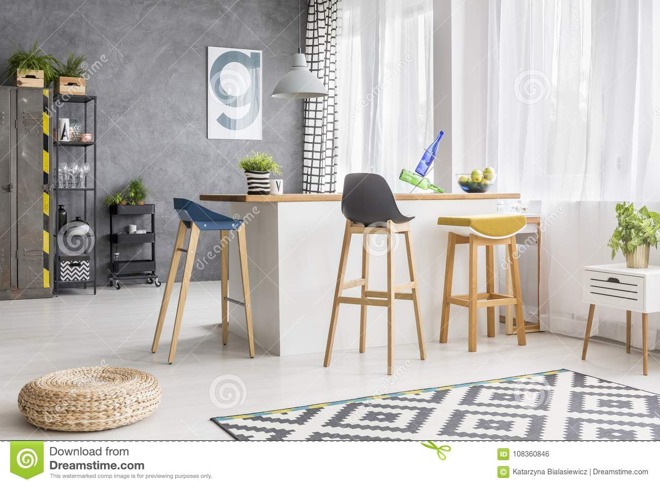 Miraculous White Kitchen Island And Barstools Stock Photo Image Of Ibusinesslaw Wood Chair Design Ideas Ibusinesslaworg