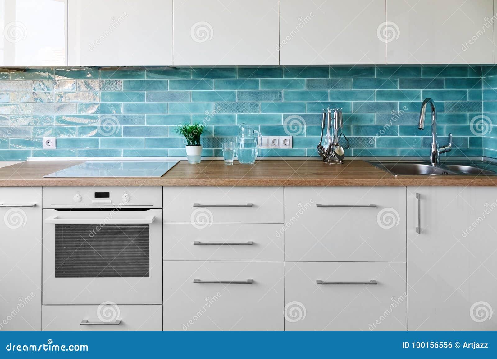 New Modern Kitchen Interior Stock Photo - Image of interior ...