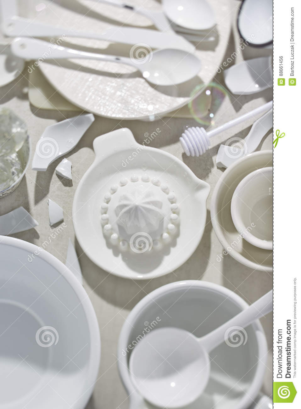 White Kitchen Plates Pots Cutlery Stock Photo - Image of cutlery ...