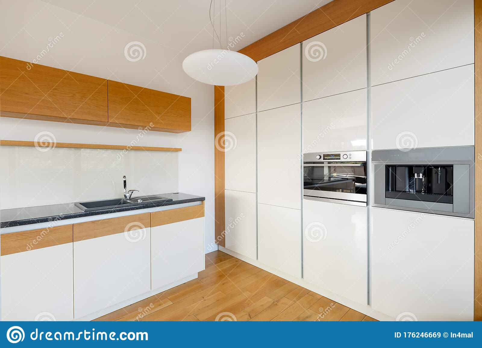 White Kitchen With Wooden Elements Stock Image Image Of House