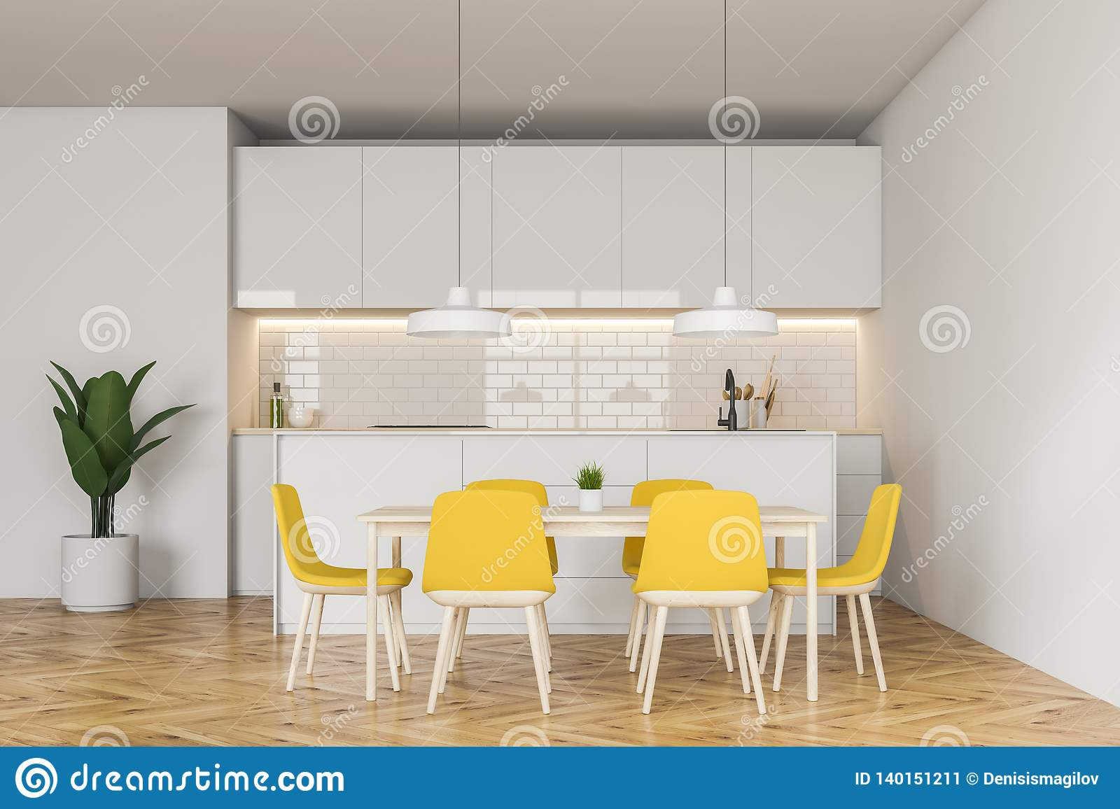 White Kitchen With Yellow Chairs And Bar Stock Illustration