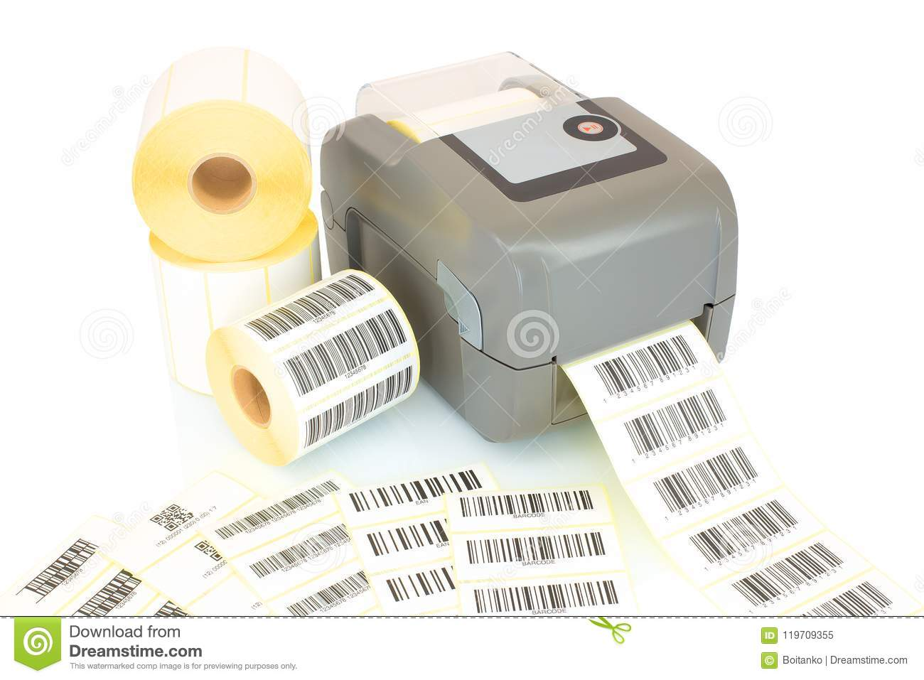 White Label Rolls, Printed Barcodes And Printer Isolated On