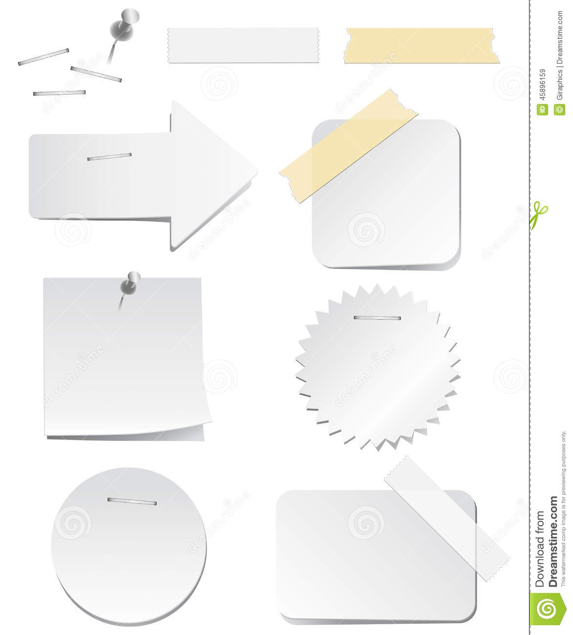 white labels with staples and tape stock vector illustration of