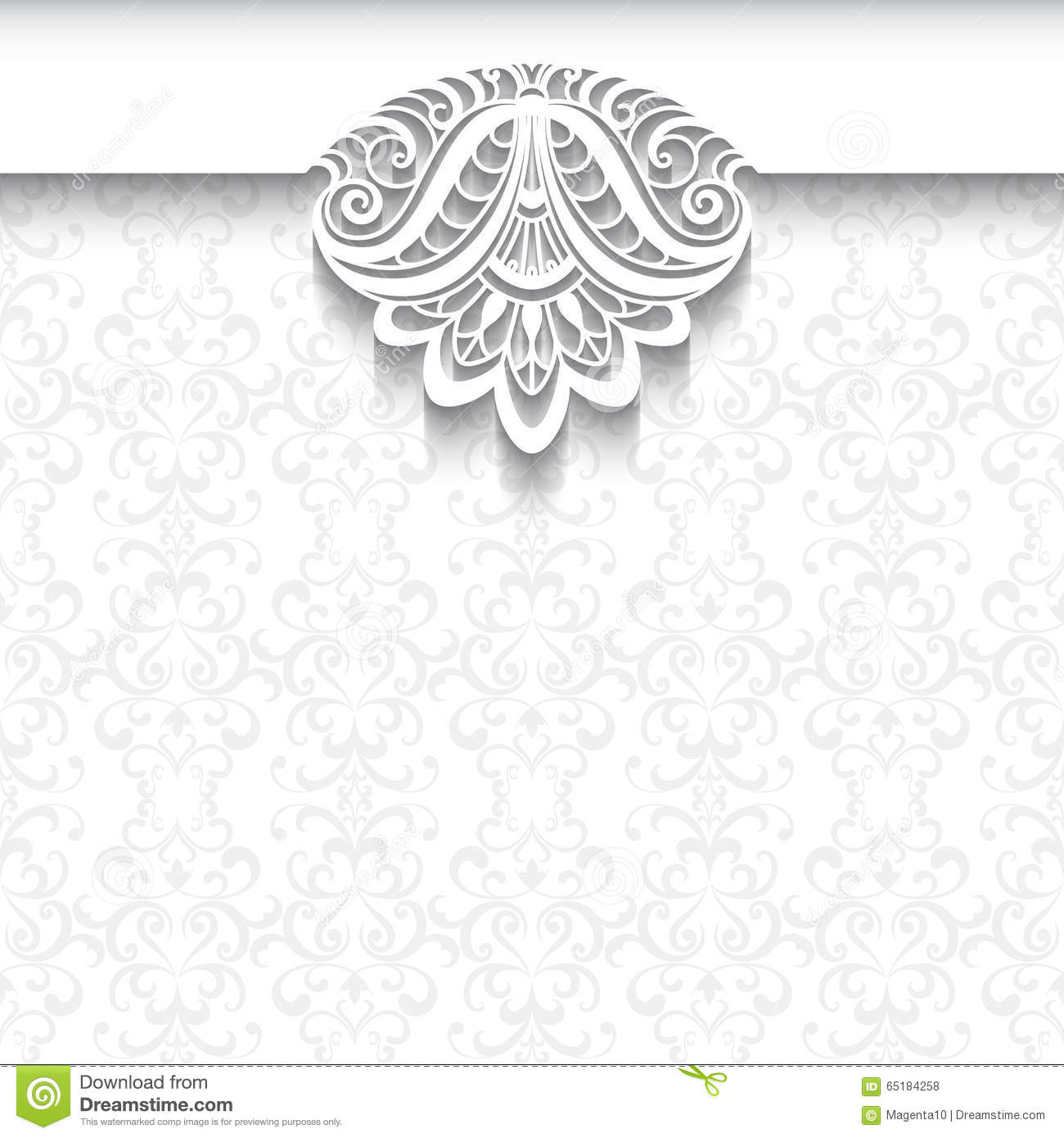 White Lace Background Wedding Invitation Template Stock Vector