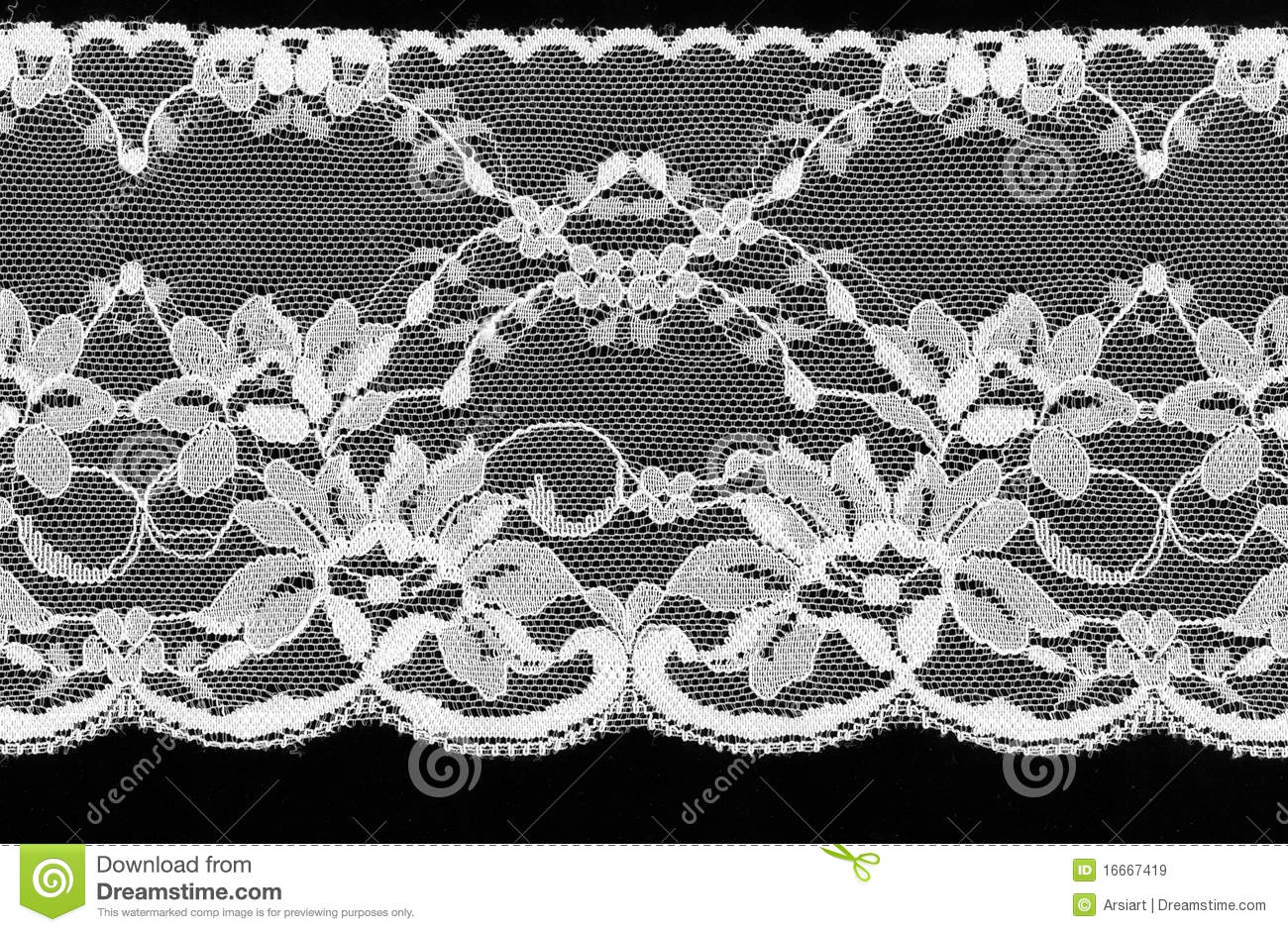 White lace on a black background.