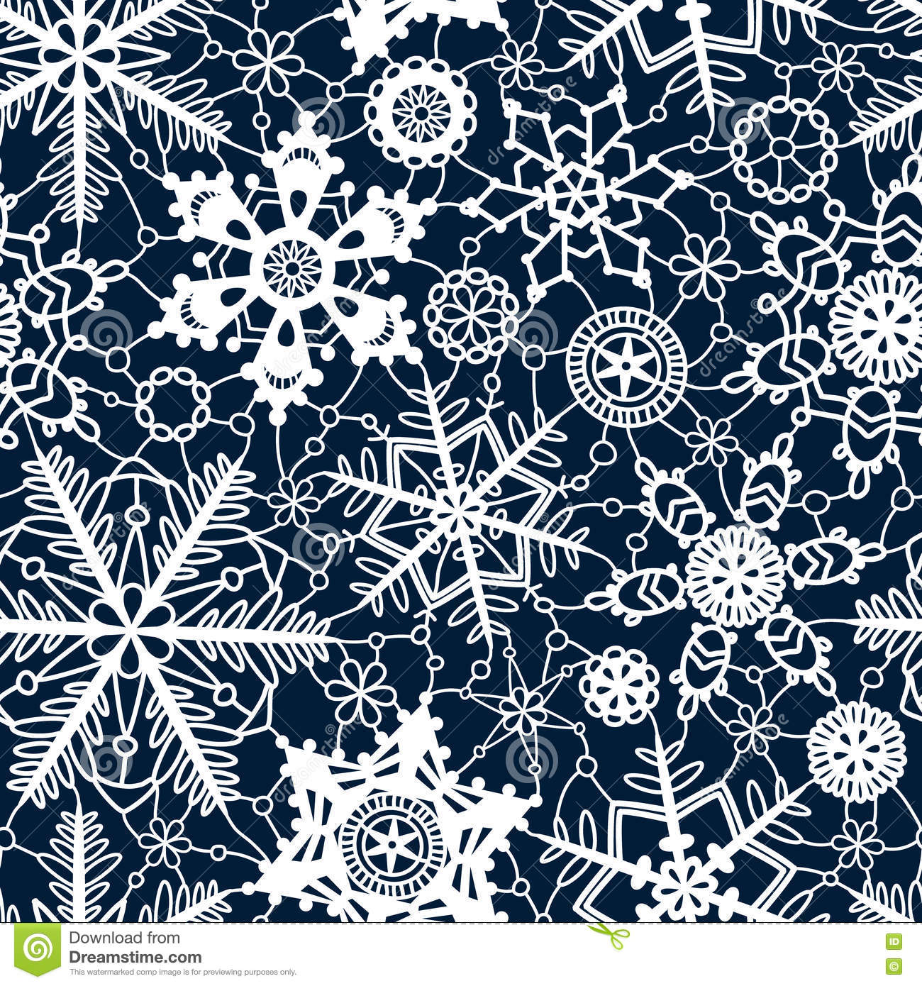 White lace crochet snowflakes seamless pattern on navy blue, vector