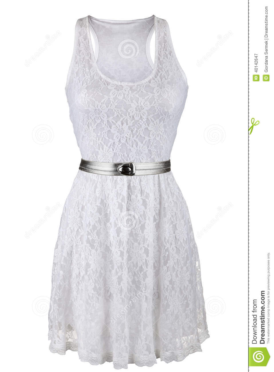 white lace dress with silver belt stock photo image
