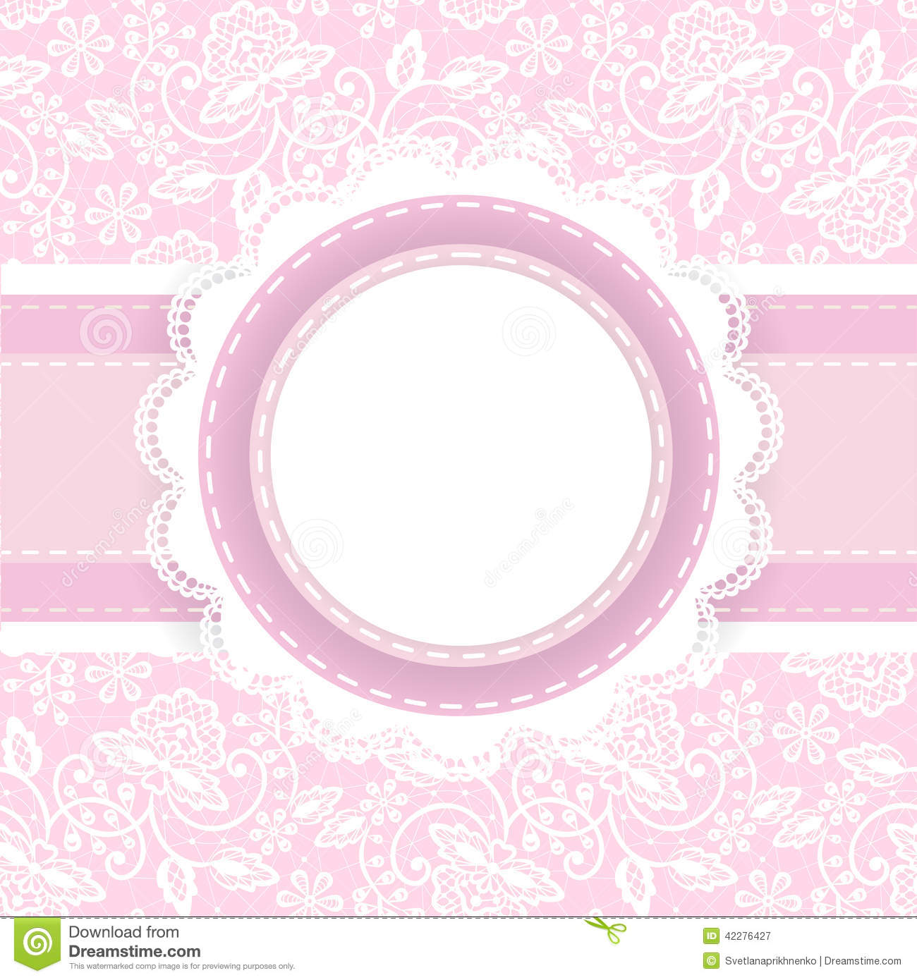 White Lace On Pink Background Stock Vector Image 42276427