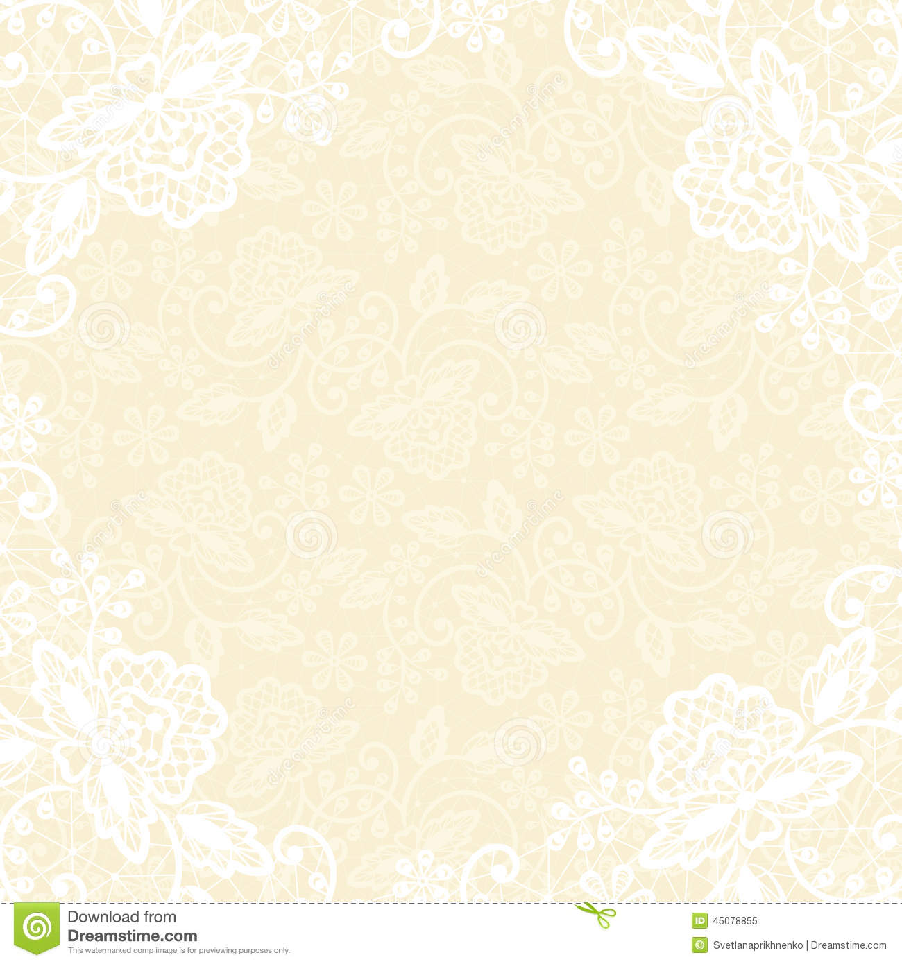White Lace On Yellow Background Stock Vector Image 45078855