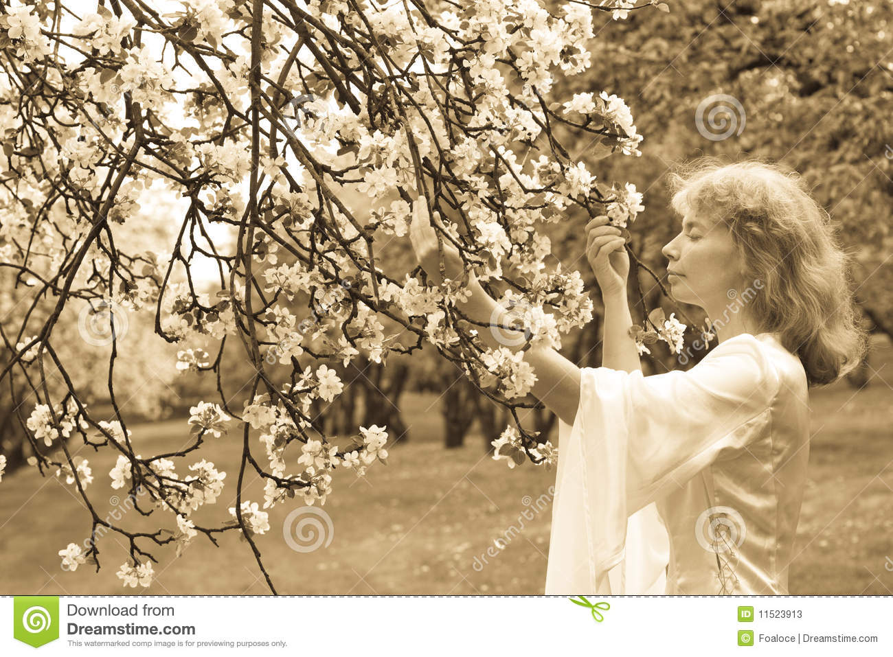 White lady and white flowers