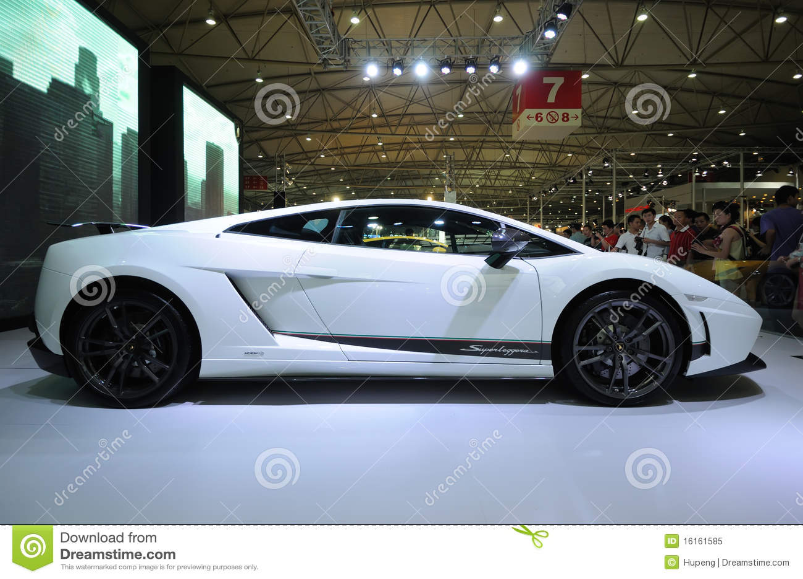 white lamborghini gallardo lp 570 4 superleggera royalty free stock photo