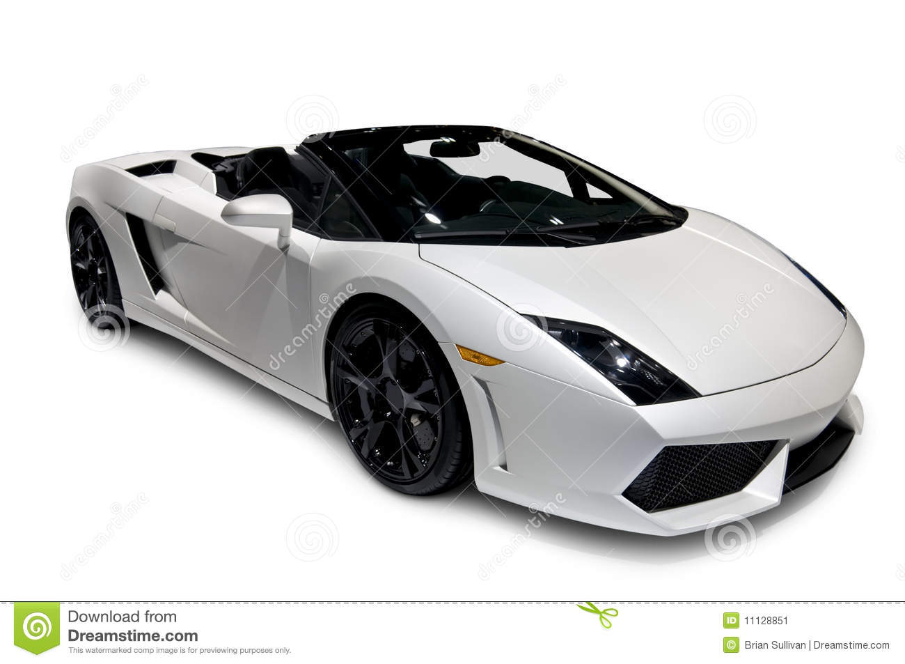 White Lamborghini Roadster with clipping path