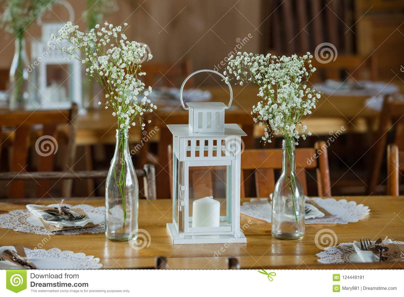 Rustic Lantern And Babys Breath Wedding Centerpieces Stock