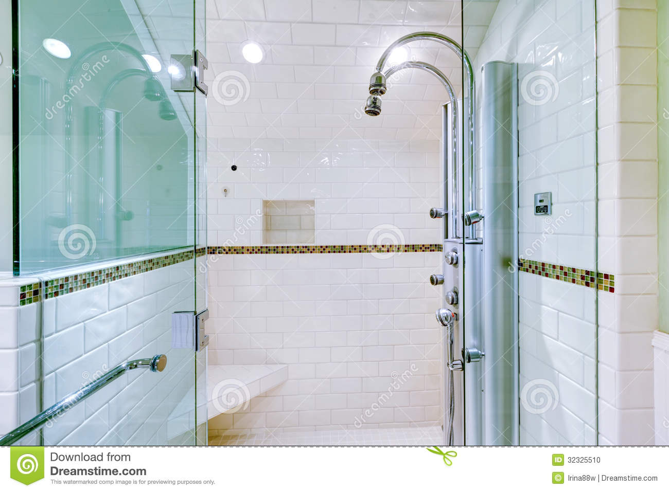 White Large Luxury Bathroom Walk-in Shower. Stock Photo - Image of ...