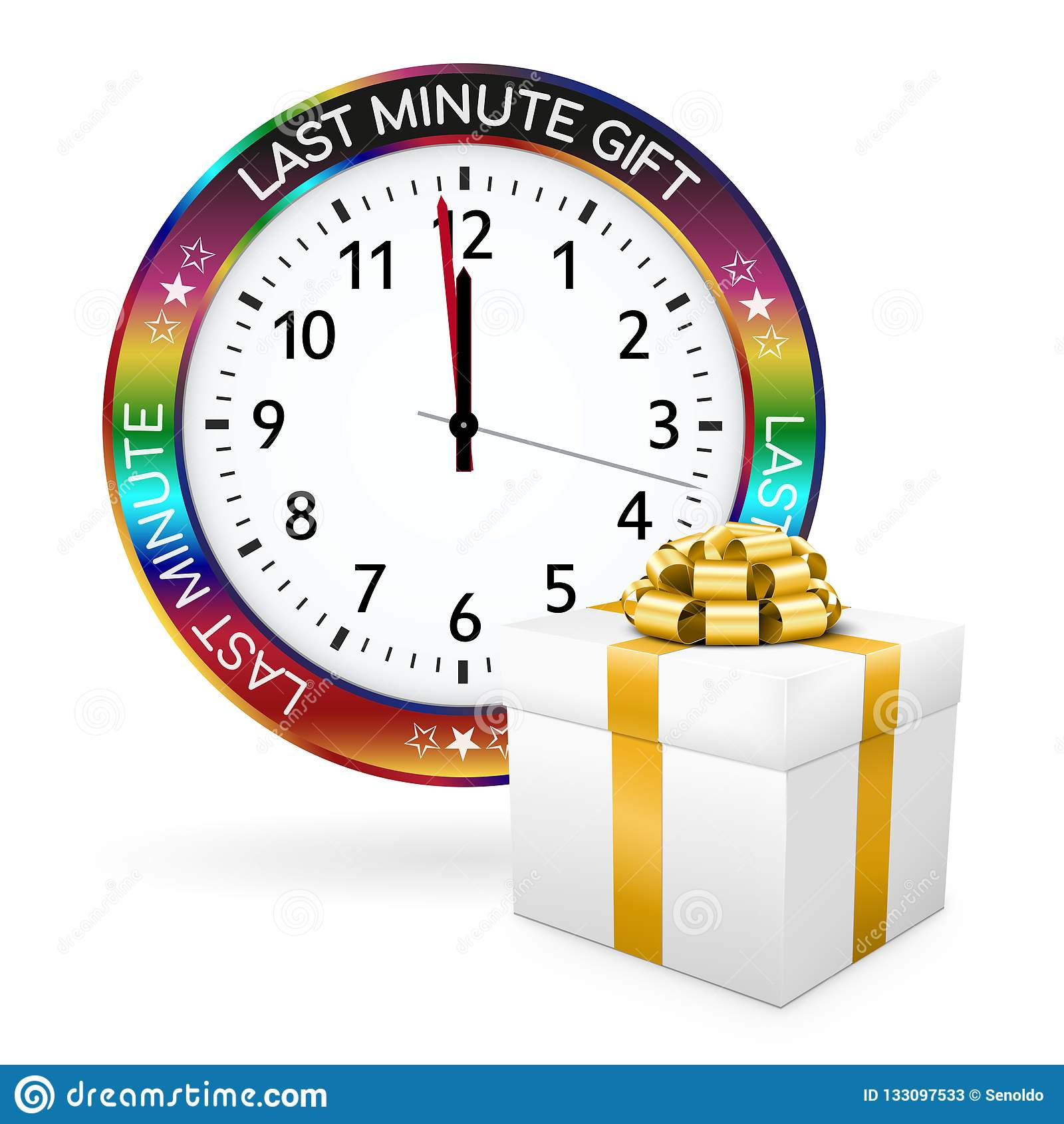 White Last Minute Present - Clock with Colorful Border