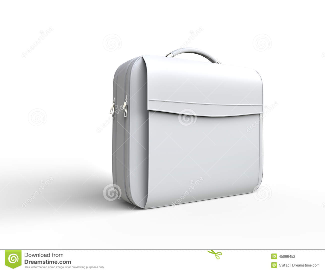 White Leather Business Briefcase On White Background Stock ...
