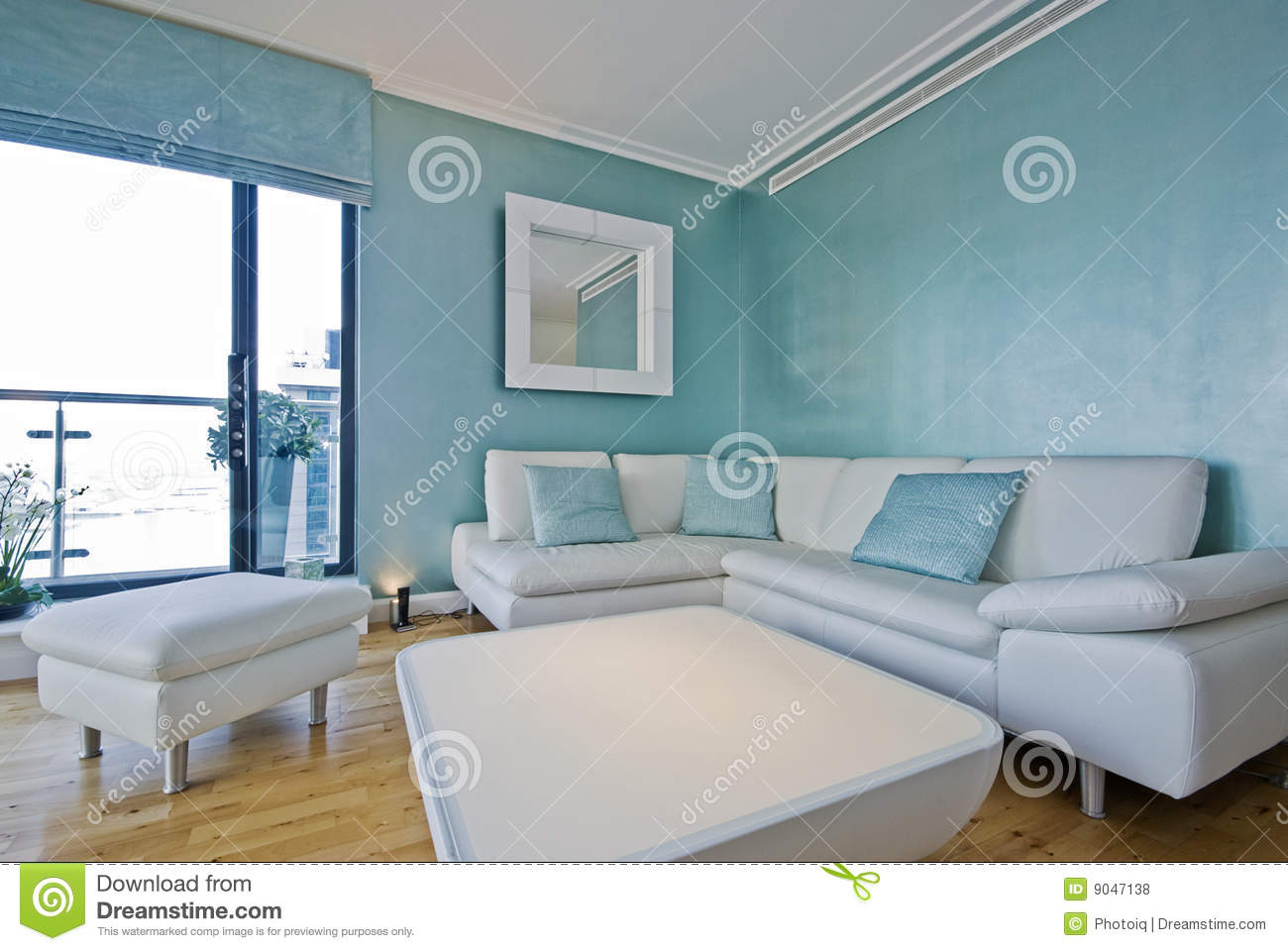 White leather corner sofa in a modern living room stock Cheerful colors to paint a room