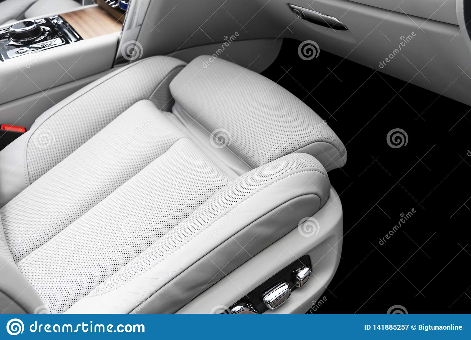 White Leather Interior Of The Luxury Modern Car Perforated White Leather Comfortable Seats With Stitching Modern Car Interior D Stock Image Image Of Beige Design 141885257