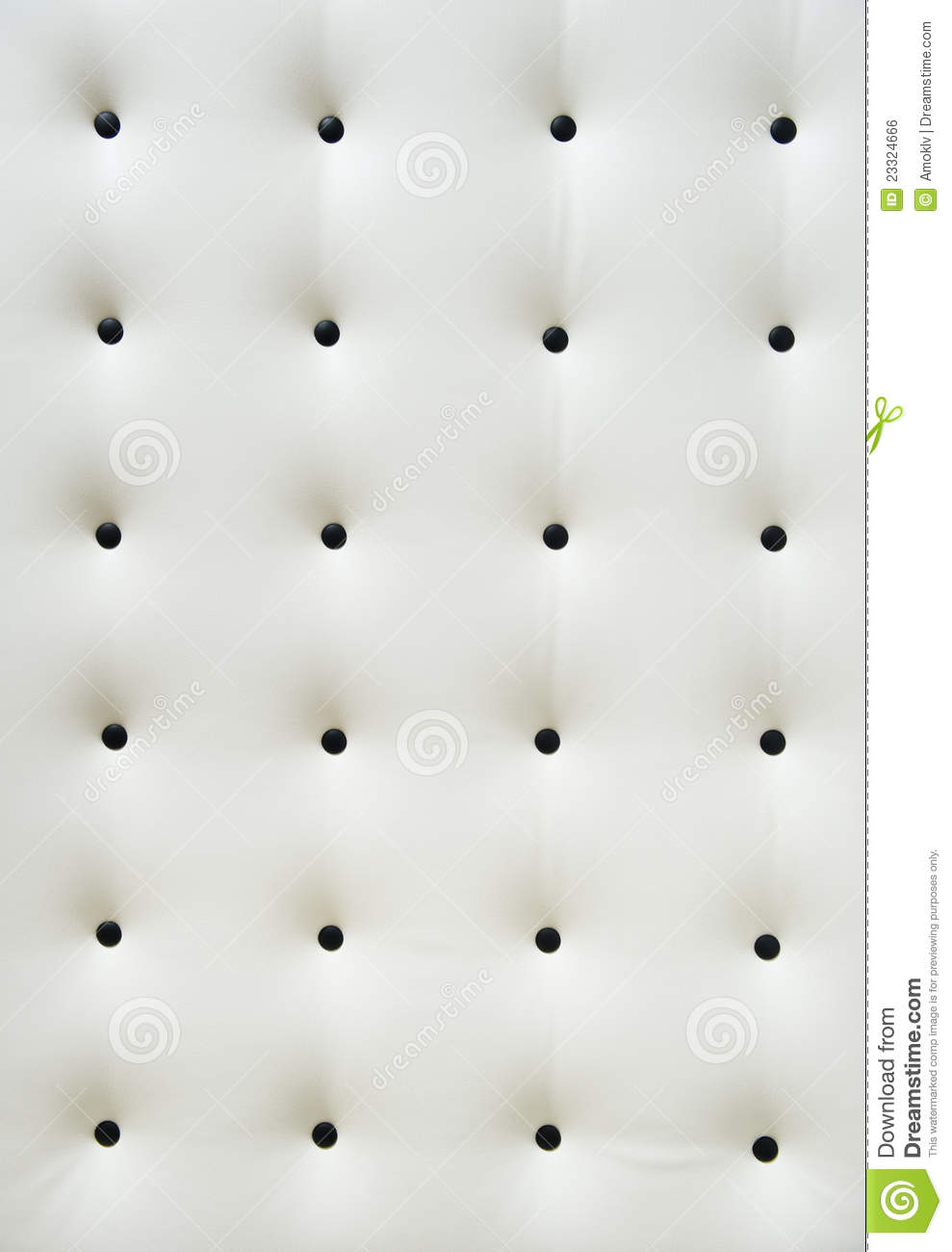 White Leather Upholstery With Black Buttons Stock Photo