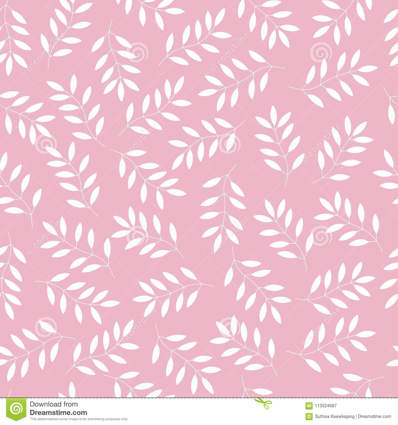 white leaves on pink background seamless pattern vector backgr