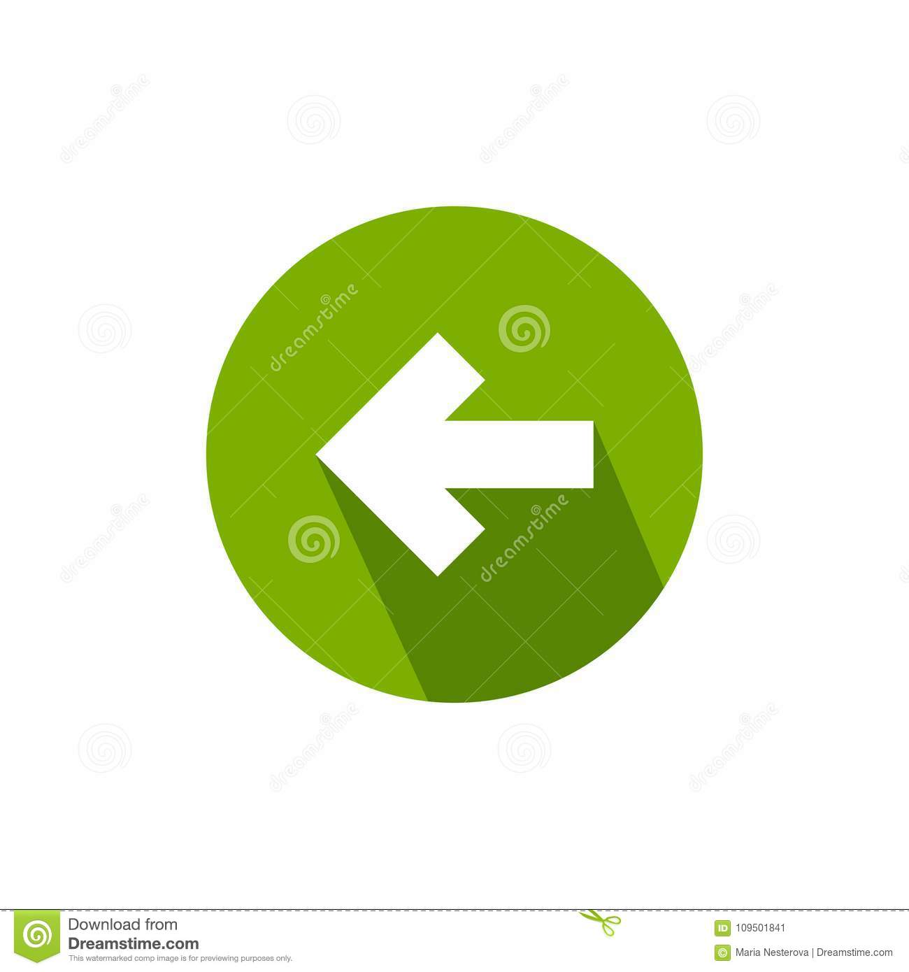 White Left Squared Arrow With Shadow In Green Circle Flat Icon Isolated On Continue Back Sign West
